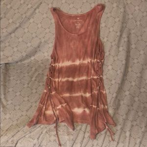 American Eagle long tank top pink&white tie dye